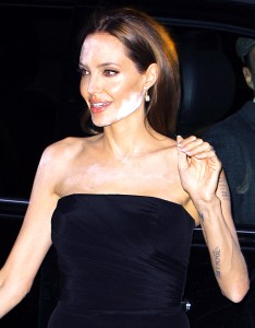 "Angelina Jolie and the ""white powder"" effect, where the on-camera flash causes the subject's makeup to flare. Credit: FameFlynet Pictures"