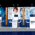 This is the design for a trade show booth used at Embedded World 2015 in Nürnberg, Germany. At each table is a flatscreen display.