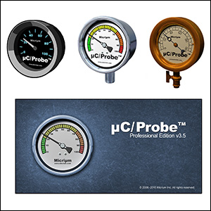 These icons are variations on an application icon for a programmer's debugging tool. µC/Probe is an software add-on that describes the activity of a device using graphical displays, thus the symbol of the steam gauge. At bottom is the product's splash screen.