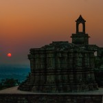 Sunset over the city of Chittorgarh, Rajasthan, India in November 2009.