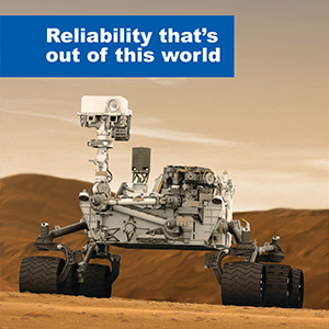 The front cover and an interior page of the Micrium product Catalogue. Micrium software is used on the Mars Curiosity rover, hence the cover photo.