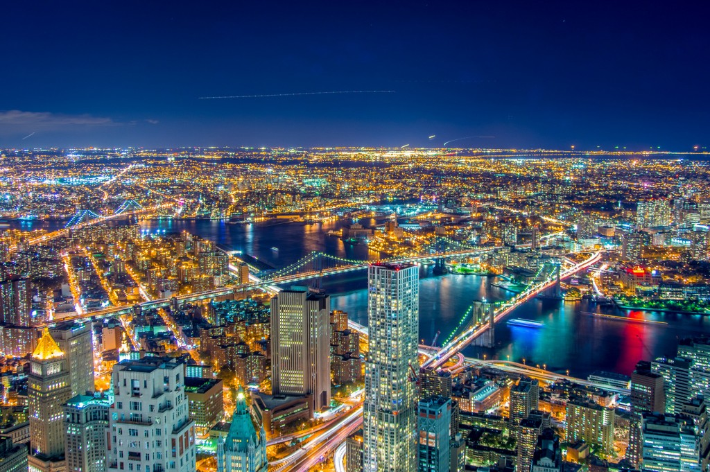 The view of the East River from the top of One World Trade Center.