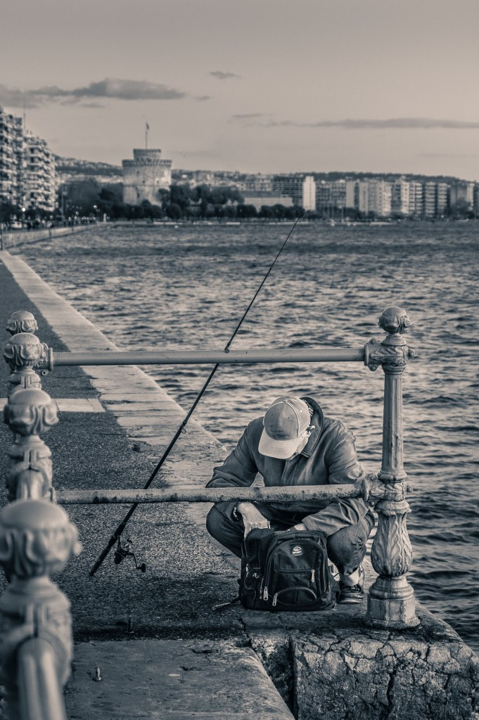 Fisherman on the boardwalk in Thessaloniki